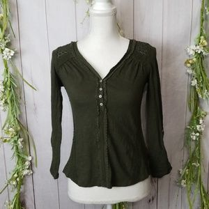 Meadow Rue Anthropologie sz S Green Crocheted Top